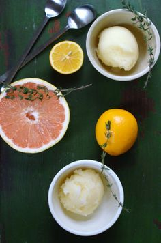 Thyme Infused Ugli Fruit, Ruby Red Grapefruit, and Meyer Lemon Sorbet