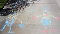 Have the kids decorate the driveway while you get ready for the Despicable Me minion party. Cute party decoration, doesn't fly away or pop like a balloon, and they are out of your hair for a little while. :)