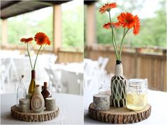 yarn wrapped glass bottles, rustic wood piece centerpieces, bright orange gerbera daisies, Two Chics Photography