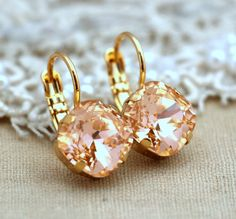 Peach Gold Drop earrings Swarovski earrings light peach by iloniti