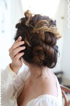 Loosely Curled Chignon -She Lets Her Hair Down
