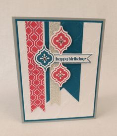 Stamp set- mosaic madness, itty bitty banners card stock- white, strawberry slush, island indigo, silver glimmer paper, dsp- quatrefancy ink- strawberry slush, island indigo Big shot- embossing folder- modern mosaic- framelits- bitty banners Punch- mosaic, square Accents- rhinestones