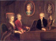 "Family Portrait: Maria Anna (""Nannerl""), Wolfgang, Anna Maria (medallion) and Leopold Mozart, ca. 1780, Johann Nepomuk della Croce (artist, Austrian, 1736-1823), Stiftung Mozarteum Salzburg collection http://www.mozarteum.at/en.html"