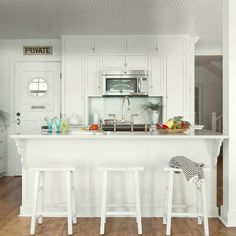 An airy kitchen with