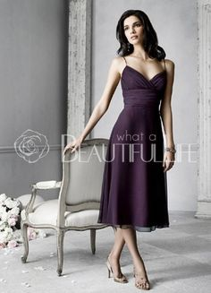 $92.49Grape Spaghetti Straps Tea-length #Chiffon And Taffeta #Prom #Dress With Sash