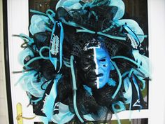 NC Panthers Deco Mesh Door Wreath by WreathsEtc on Etsy, $129.00