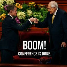 "History was made at #LDS #GeneralConference when the first recorded ""fist bump"" was photographed of Elder Bednar and Elder L. Tom Perry (via Salt Lake Tribune). #ldsconf #fistbump #wondertwinpowers"