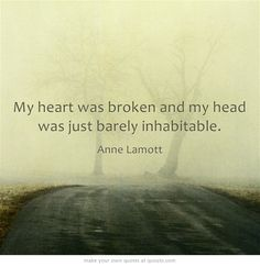One of my favorite quotes from Anne Lamott's memoir Traveling Mercies. Who hasn't been in this place? The death of someone you love, the demise of a significant relationship, the loss of something by which you defined yourself.