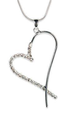 half rhinestone #heart #necklace on coil chain   $6.37