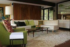 Love this swanky, yet fresh mid-century living room