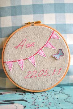 Personalised Bunting Nursery Art Embroidery Hoop, Pink Butterfly Wall Art. £15.00, via Etsy.