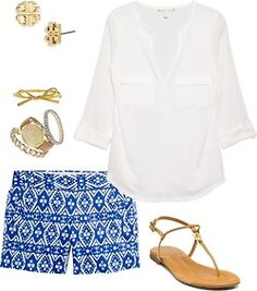 Cute summer outfit. I need to get some cute patterned shorts this summer
