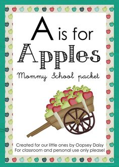 Complete preschool kit focusing on the letter A, number 1, and apples galore. Free download when you follow Oopsey Daisy blog! This would be a great place to start for unit planning...see how someone else did it, first!