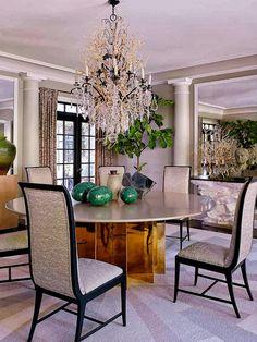 Jean-Louis Deniot in LA - a Jean de Merry custom table, 1950s chairs, 1920s Austrian vase, modern marble sculpture.