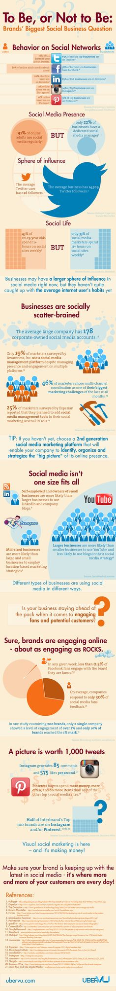 Infographic with social media infomation on business and social media