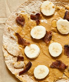The Elvis Burrito - Spread peanut butter on a toasted whole wheat wrap, then sprinkle with crumbled bacon and drizzle with honey.