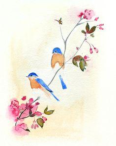 watercolor art, bluebird, nursery art, art prints, bird nests