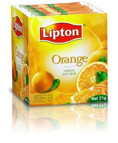 Orange Herbal Tea by Lipton  If you like the sweet taste of orange, you'll love this soothing Herbal Infusion Tea. It's made from natural herbs, orange extracts and contains no caffeine.