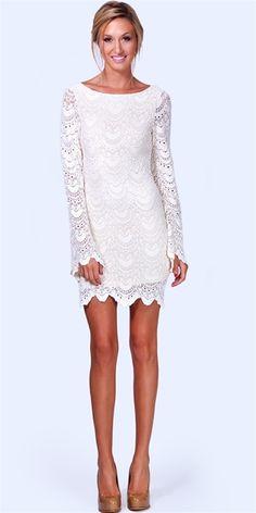 Lace mini-dress for Rehearsal Dinner.