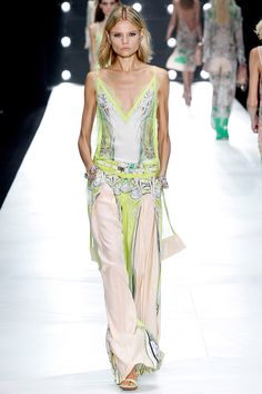 """""""Printed silk chiffon lingerie dresses with lace trims."""" Roberto Cavalli Spring 2013 RTW"""