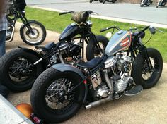 1953 Panhead hardtail custom wide bars and black rims