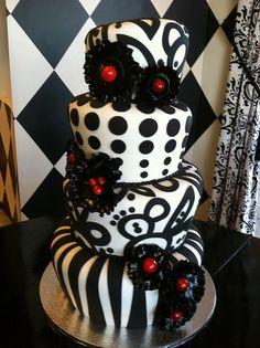Black and white topsy turvy wedding cake
