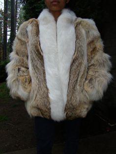 1980's Coyote and Arctic Fox Fur Coat