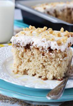 Baklava Poke Cake - lots of cinnamon, honey and walnuts!