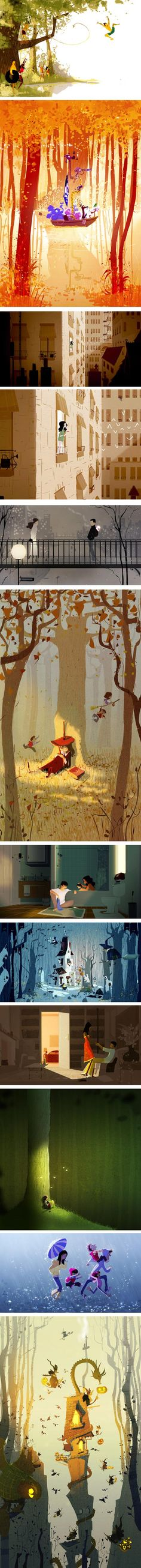 Pascal Campion. Really beautiful story telling through dynamic illustrations.