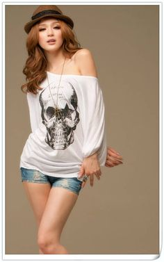 skull clothing   ... Skull printed Cotton Long sleeved t shirt top clothes women t-shirt