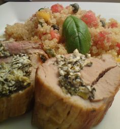 Stuffed Pork Tenderloin with Greek Style Quinoa Salad