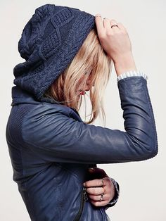 Doma Sweater Hood Leather Biker Jacket at Free People Clothing Boutique
