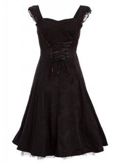 Black Brocade 50s PinUp Rockabilly Retro Dress with Black Lace  Price : $49.90 http://www.pretty-attitude.com/Black-Brocade-PinUp-Rockabilly-Retro/dp/B00FL1LZES