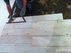 Another plywood floor. Would rather have wider boards than these, but there are some good tips. Could stain dark!