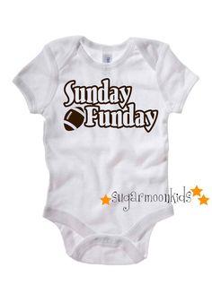 Football Sunday Funday Baby Onesie by sugarmoonkids on Etsy