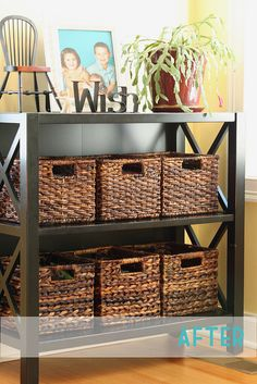Put felt on the bottom of wicker baskets to protect your furniture -- DVD Organization by Willow Handmade, via Flickr