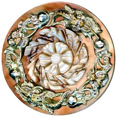 Button--Mid-19th C. Carved Pearl with Metal Overlay Grotesque Faces on : R C Larner | Ruby Lane