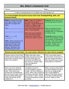 Weekly Homework Grid