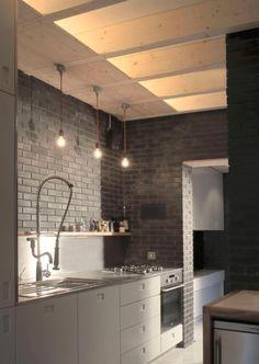 . lights, interior design, houses, kitchen interior, design kitchen, bricks, modern kitchens, shadows, kitchen designs
