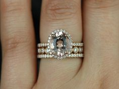 Original Jessica  Bubbles 14kt Rose Gold Oval Morganite and Diamonds Halo TRIO Wedding Set (Other metals and stone options available)