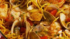 Giada De Laurentiis - Halibut & Sausage Noodle Paella