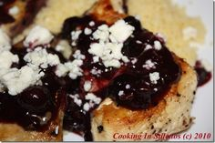 Blueberries Get Spicy - Sauteed Chicken with Blueberry Sauce and Blue Cheese -        http://cookinginstilettos.com/chicken-with-blueberry-sauce-and-blue-cheese/  #Blueberries #Cheese #Chicken
