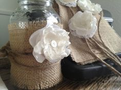 Rustic Wedding Decor for 5 Jars, Rustic Centerpiece, Burlap Mason Jar Centerpiece,  DIY Vintage Wedding Decor via Etsy
