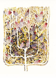 Partridges in a Pear Tree  Large Archival Print by unitedthread, $40.00