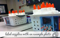 Give students a photo of what the supply basket SHOULD look like at the end of class. This really works and is so simple.