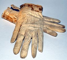 Leather gloves worn by the president to fords,the night he was shot,,there is blood on the cuffs.
