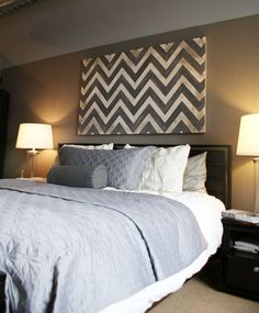 DIY Painters tape artwork- love the chevron headboard, color, diy wall art, paint, artwork, print, bedroom, accent walls, chevron stripes