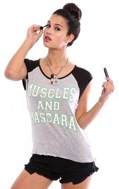 Deb Shops Slash Back Raglan Tee with Muscles and Mascara Screen $14.25