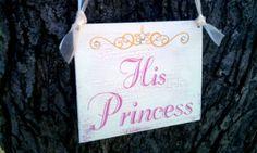 Farytale Wedding Signs TIARA CRYSTALS His Princess & Her Prince Hot Pink Wedding Fushcia Wedding