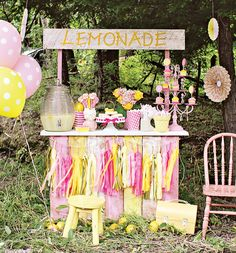 Girly & SWEET Pink Lemonade Stand // Hostess with the Mostess® girl birthday, girls birthday parties, 1st birthday, birthday lemonade theme, lemonade stand birthday